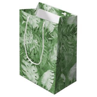 Tropical Watercolor Green Leaves Medium Gift Bag