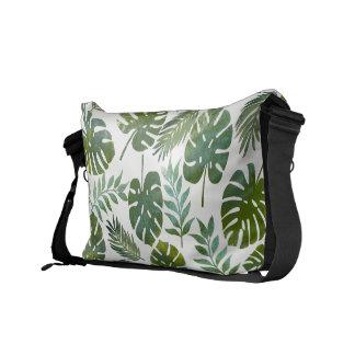 Tropical watercolor green leaves messenger bag