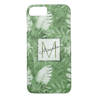 Tropical Watercolor Green Leaves Monogram iPhone 8/7 Case