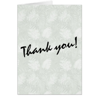 Tropical Watercolor Green Leaves Thank you Card