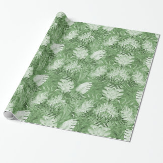 Tropical Watercolor Green Leaves Wrapping Paper