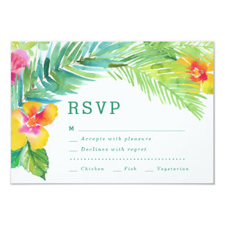 Tropical Watercolor Leaves Destination RSVP Card