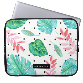 Tropical Watercolor Leaves with Black Polka Dots Laptop Sleeve