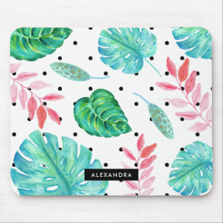 Tropical Watercolor Leaves with Black Polka Dots Mouse Pad