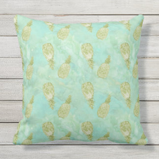 Tropical Watercolor Mint Gold Aqua Pineapples Throw Pillow