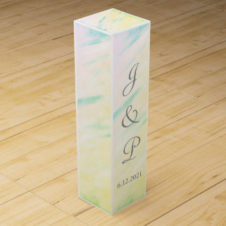 Tropical Watercolor Monogrammed Wedding Wine Box