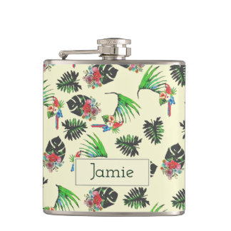 Tropical Watercolor Parrot Pattern Flask