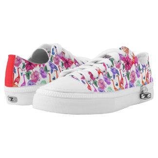 Tropical Watercolor Pattern Low-Top Sneakers