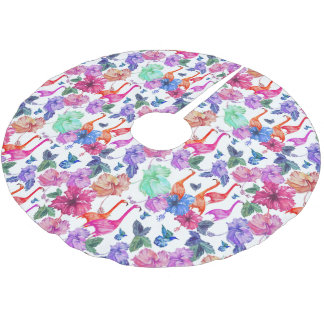 Tropical Watercolor Pattern   Monogram Brushed Polyester Tree Skirt