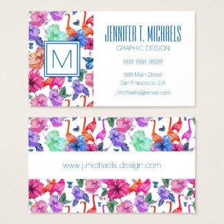 Tropical Watercolor Pattern | Monogram Business Card