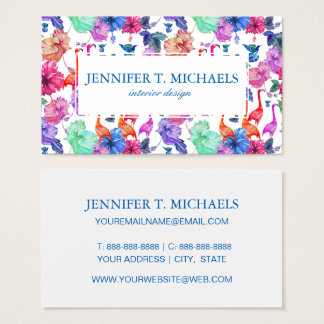 Tropical Watercolor Pattern | Monogram Business Card