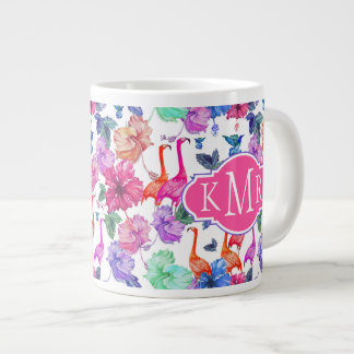 Tropical Watercolor Pattern | Monogram Large Coffee Mug