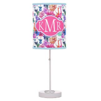 Tropical Watercolor Pattern | Monogram Table Lamp