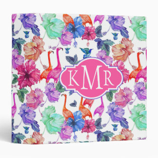 Tropical Watercolor Pattern | Monogram Vinyl Binder
