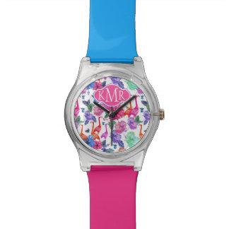 Tropical Watercolor Pattern | Monogram Wristwatch