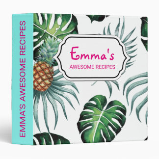 Tropical watercolor pineapple painting on white 3 ring binders
