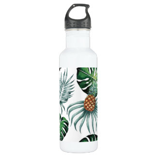 Tropical watercolor pineapple painting on white 710 ml water bottle