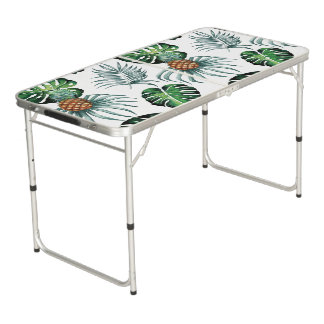 Tropical watercolor pineapple painting on white beer pong table