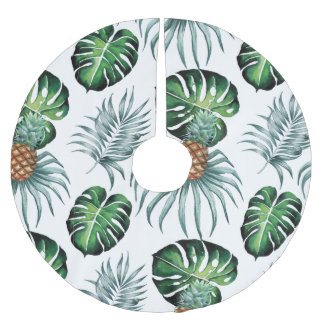 Tropical watercolor pineapple painting on white brushed polyester tree skirt