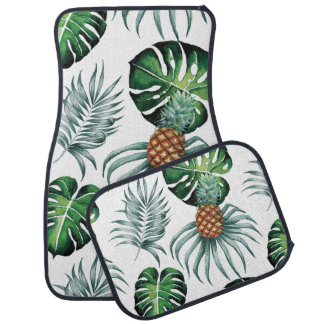 Tropical watercolor pineapple painting on white car carpet