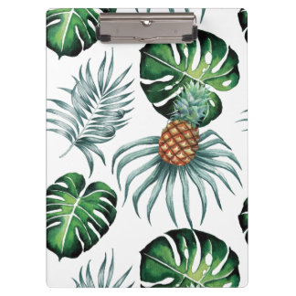 Tropical watercolor pineapple painting on white clipboard