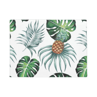 Tropical watercolor pineapple painting on white doormat