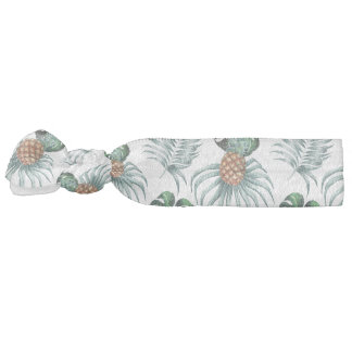 Tropical watercolor pineapple painting on white hair tie