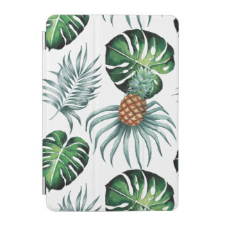 Tropical watercolor pineapple painting on white iPad mini cover