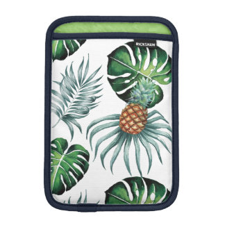 Tropical watercolor pineapple painting on white iPad mini sleeve