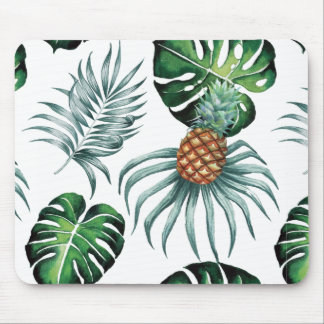 Tropical watercolor pineapple painting on white mouse pad
