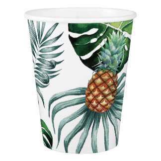 Tropical watercolor pineapple painting on white paper cup