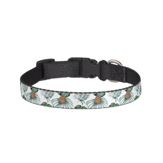 Tropical watercolor pineapple painting on white pet collar
