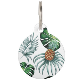 Tropical watercolor pineapple painting on white pet name tags
