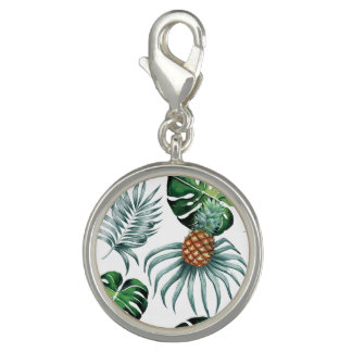 Tropical watercolor pineapple painting on white photo charm