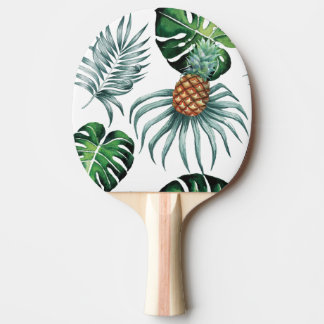 Tropical watercolor pineapple painting on white ping pong paddle