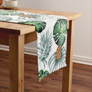 Tropical watercolor pineapple painting on white short table runner