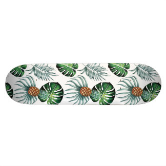 Tropical watercolor pineapple painting on white skate board deck