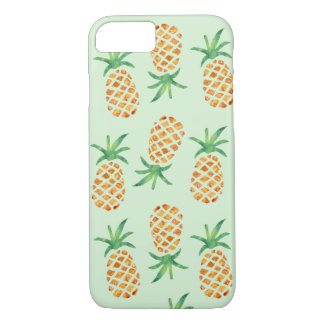Tropical Watercolor Pineapple Pattern Green iPhone 7 Case