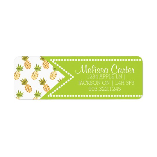 Tropical Watercolor Pineapple Pattern Return Address Label