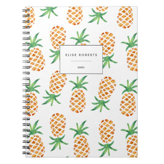 Tropical Watercolor Pineapple Pattern Spiral Notebook
