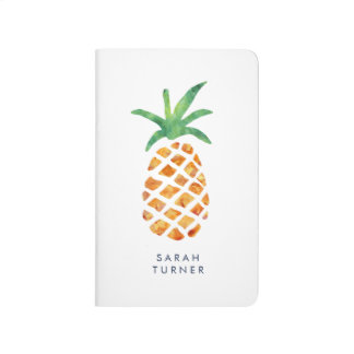 Tropical Watercolor Pineapple Personalized Journals