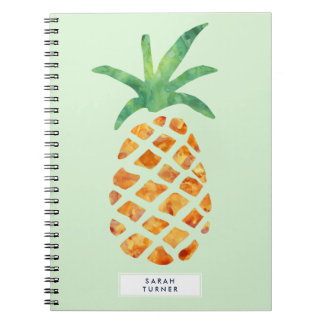 Tropical Watercolor Pineapple Personalized Note Books