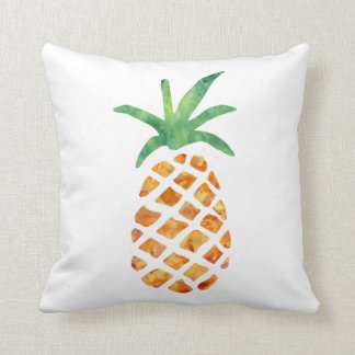 Tropical Watercolor Pineapple Throw Pillow