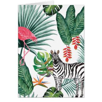 Tropical Watercolor Print- Zebra and Flamingo Card