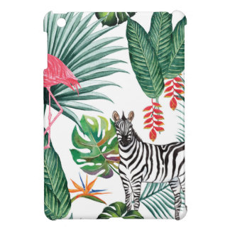 Tropical Watercolor Print- Zebra and Flamingo Cover For The iPad Mini