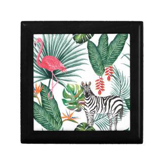 Tropical Watercolor Print- Zebra and Flamingo Gift Box