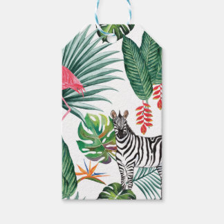 Tropical Watercolor Print- Zebra and Flamingo Gift Tags