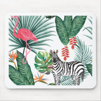 Tropical Watercolor Print- Zebra and Flamingo Mouse Pad