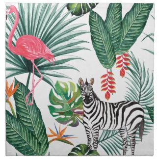 Tropical Watercolor Print- Zebra and Flamingo Napkin