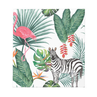 Tropical Watercolor Print- Zebra and Flamingo Notepads